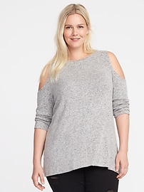 Haut évasé à épaules nues en tricot duveteux, taille Plus
