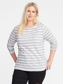 T-shirt à col bateau à imprimé de cœur, taille Plus