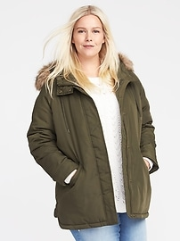 Plus-Size Faux-Fur Hooded Parka