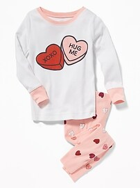 Candy-Hearts Graphic Sleep Set for Toddler & Baby