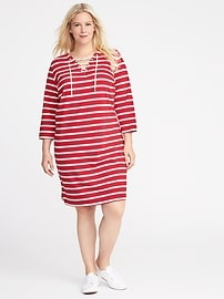 Plus-Size Lace-Up-Yoke Shift Dress