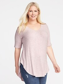 Plush-Knit Plus-Size Extra-Long Tunic