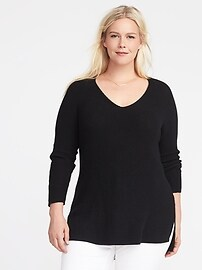 Plus-Size Shaker-Stitch Tunic Sweater