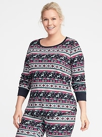 Relaxed Plus-Size Waffle-Knit Top