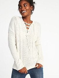Cable-Knit Lace-Up Sweater for Women