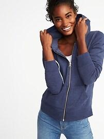 Relaxed Full-Zip Fleece Hoodie for Women