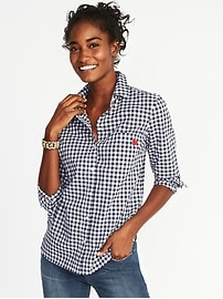 Chemise en guingan décontractée classique pour femme