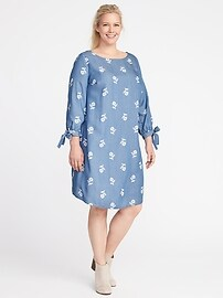 Plus-Size Tie-Cuff Tencel&#174 Shift Dress