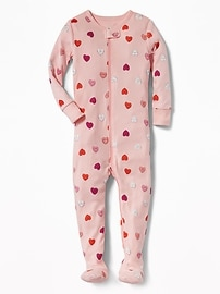 Candy-Hearts Print Footed Sleeper for Toddler & Baby