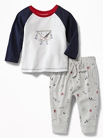 Love-Letter Graphic Tee & Printed Joggers Set for Baby