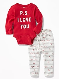 Graphic Bodysuit & Printed Pants Set for Baby
