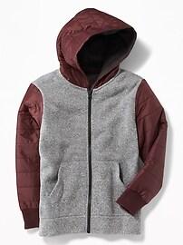 Sweater-Fleece Nylon-Trim Hoodie for Boys