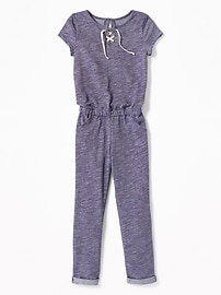 Lace-Up-Yoke Jumpsuit for Girls