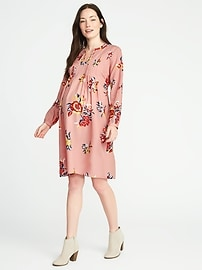 Maternity Pintucked Floral Tie-Belt Dress