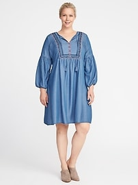 Plus-Size Embroidered Tencel&#174 Shift Dress
