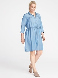 Plus-Size Tencel&#174 Utility Shirt Dress