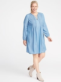 Plus-Size Pintuck Tencel&#174 Swing Dress