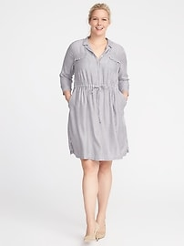 Plus-Size Tie-Waist Utility Shirt Dress