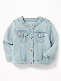 Crew-Neck Denim Jacket for Baby