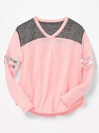 T-shirt de style football en mélange de lin pour fille