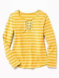 Lace-Up-Yoke Slub-Knit Tee for Girls
