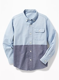 Button-Down Collar Pocket Shirt for Boys