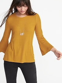 Haut à manches flottantes en tricot côtelé pour femme