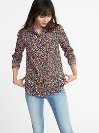 Chemise à imprimé fleuri décontractée classique pour femme