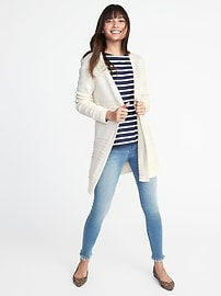Textured-Knit Open-Front Cardi for Women