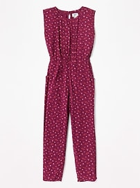 Floral Lace-Trim Jumpsuit for Girls