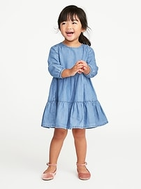 Tiered Chambray Dress for Toddler Girls