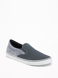 Color-Blocked Canvas Slip-Ons for Men