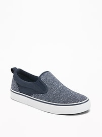 Heathered-Jersey Slip-Ons for Boys