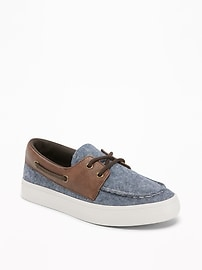 Color-Blocked Chambray Boat Shoes for Boys