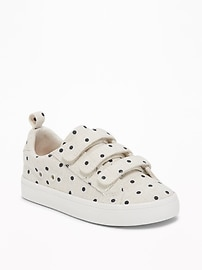 Linen Polka-Dot Secure-Strap Sneakers for Toddler Girls