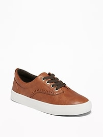 Faux-Leather Brogue Sneakers for Boys