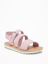 Wide-Strappy Faux-Leather Sandals for Toddler Girls