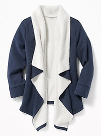 Go-Warm Max Sherpa-Lined Open-Front Cardi for Girls