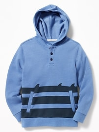 Striped Henley Hoodie for Boys