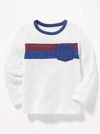 T-shirt à poche en tricot grège à couleurs contrastantes pour tout-petit garçon