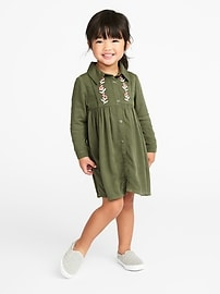 Embroidered Twill Shirt Dress for Toddler Girls