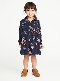 Floral Babydoll Shirt Dress for Toddler Girls