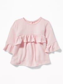Plush-Knit Ruffle-Trim Top for Baby