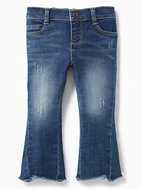 Cropped Raw-Edge Kick-Flare Jeans for Toddler Girls