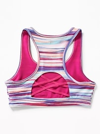 Lattice-Back Sports Bra for Girls