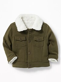 Sherpa-Lined Fleece Trucker Jacket for Baby