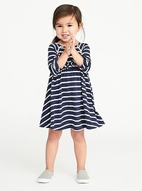 Jersey Ladder-Lace Swing Dress for Toddler Girls