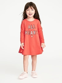 Graphic French Terry Dress for Toddler Girls