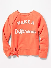 Graphic Side-Tie French-Terry Sweatshirt for Girls