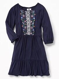 Puff-Print Swing Dress for Girls